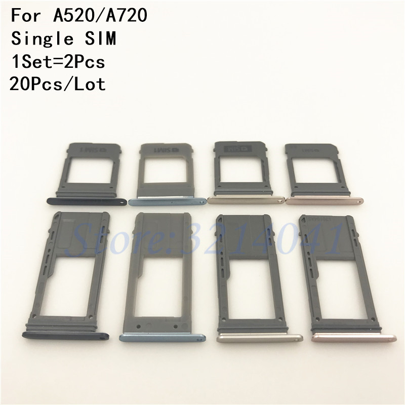 20Pcs/Lot Single & Dual SIM Card Tray Slot Micro SD Card Tray Holder Adapter Spare Parts For Samsung Galaxy A520 A720 A5/A7 2017