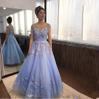 Sexy A Line Blue Prom Dress 2018 Long Scoop Beaded Backless vestidos de fiesta Formal Evening Gown Party Pageant Dresses