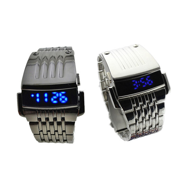 Luxury Brand Watches Men Watch Relogio Masculino Men Stainless Steel Men Blue LED Digital Sport Wrist Watch wholesale