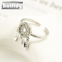 925 Silver Dreamcatcher Ring Feather Leaf Opening Design Adjustable Single Ring Ethnic Style ZC007