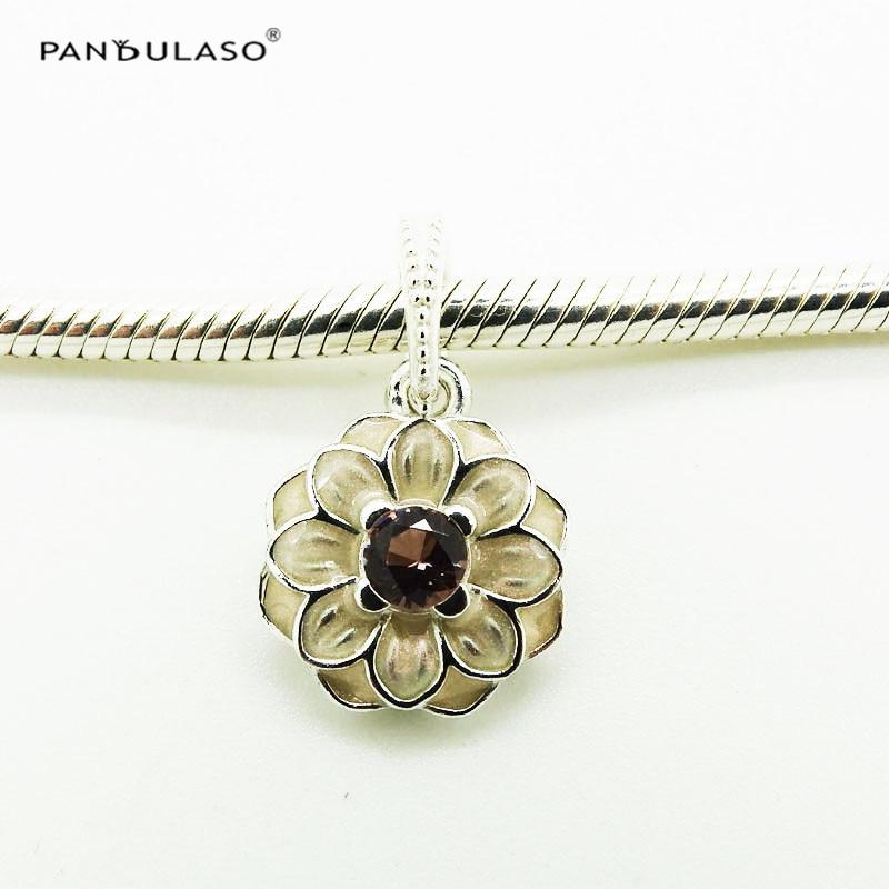 Pandulaso dahlia flower necklaces pendants pink cz crystal beads pandulaso dahlia flower necklaces pendants pink cz crystal beads for diy jewelry making fit women fashion fine charms bracelets mozeypictures Images