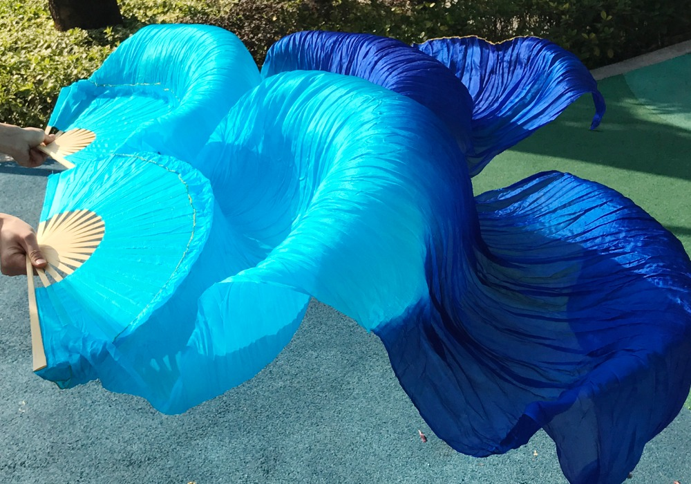 2 Pcs (1R + 1L) 2 Dyed Colors - Mix,handmade 100% Silk Fan Veil For Belly Dance Or Stage Turquoise +royal Blue