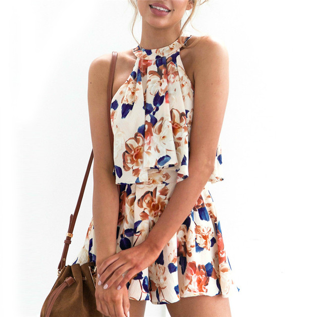 9b419c9d885b Women Two Piece Set Floral Printed Sleeveless Crop Top and Shorts Ladies  Sexy Summer Beach Sets