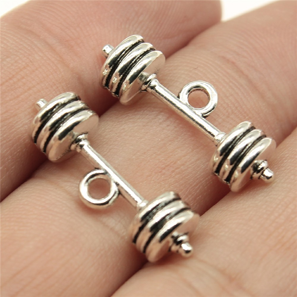 WYSIWYG 6pcs 25*7*7mm Barbell Pendants Charms Findings Jewellery Making Findings for DIY Craft