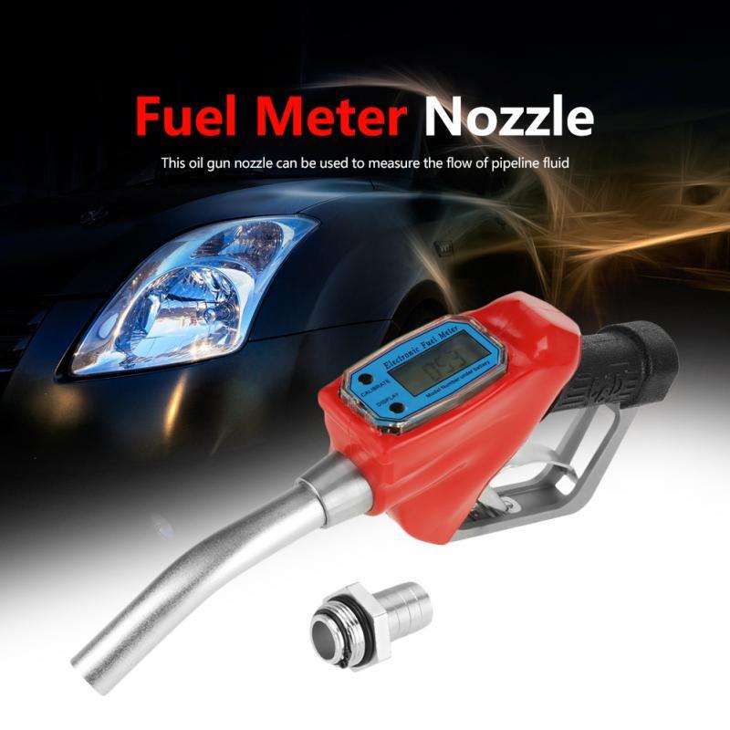 1pc Digital Fuel Oil Gasoline Nozzle Fuel Meter Nozzle Gun Fueling Nozzle with Flow Meter Oil