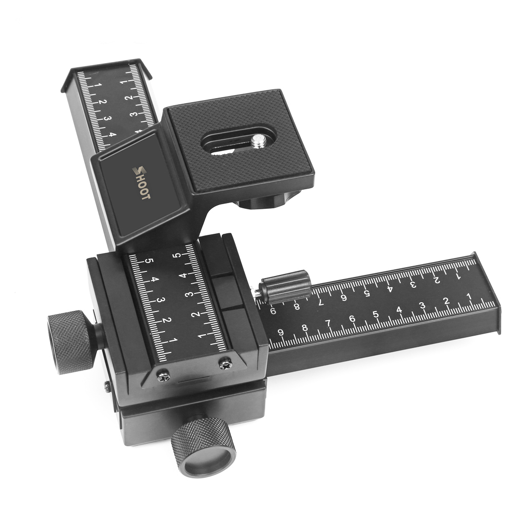 4 Way Macro Focusing Rail Slider Gimbal for Nikon Canon Samsung Sony DSLR Camera Gimbal Mount DC with Standard 1/4 Screw