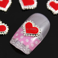 A68 10pcs/lot  Red Heart Nail Art With Silver Line 3D Rhinestone DIY Alloy Nail Decoration For Nail Tips