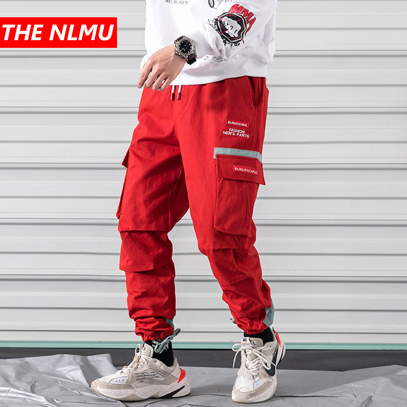 Red Joggers Pants Men Streetwear Hip Hop Harem Cargo Trousers Male Casual Pant Elastic Waist Design High Street WG307