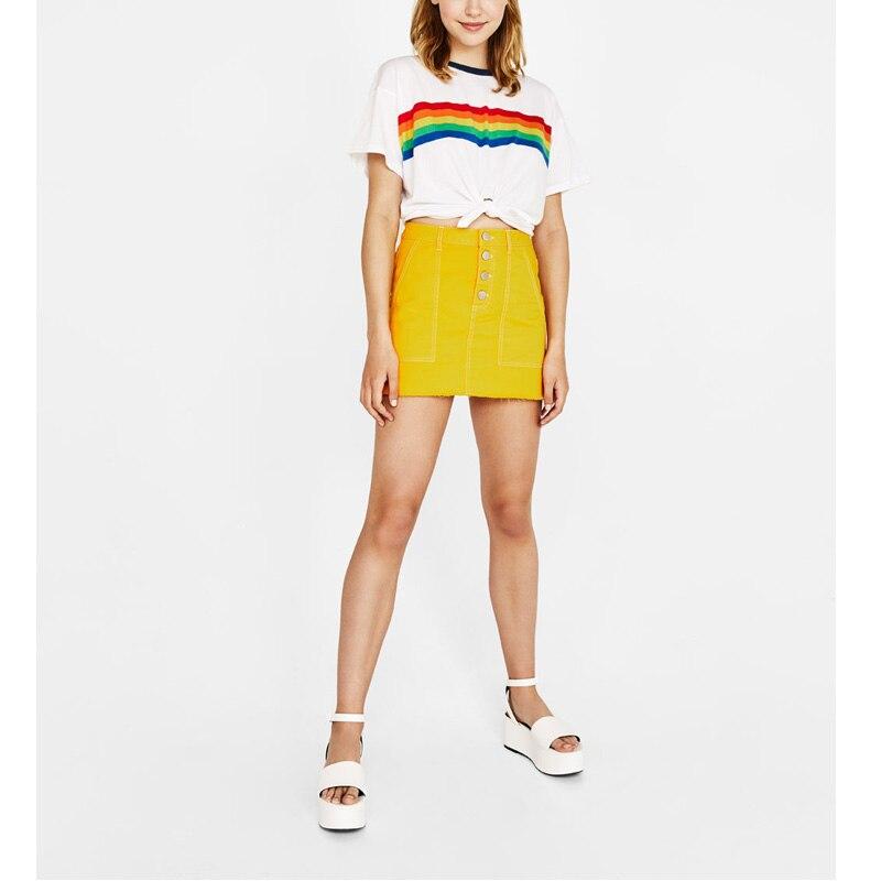 Rainbow Print T Shirt Women 2018 Summer O-Neck Harajuku Vegan BTS Kpop Friends Vogue Vintage White Cotton Tops Plus Size