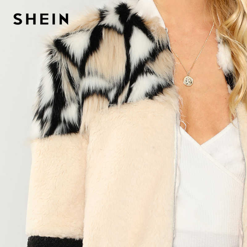 a1873ea826 ... SHEIN Multicolor O-Ring Zip Up Faux Fur Coat Casual Stand Collar Long  Sleeve Highstreet ...