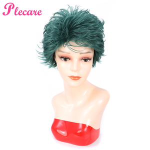 Image 2 - Plecare Short  Straight Wig Ombre Green  Heat Resistant Hair Synthetic Wig For Black/White Women Anime Cosplay/Party Wigs