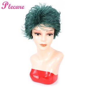 Image 2 - Plecare peruka z krótkich prostych włosów Ombre zielony żaroodporne włosy peruka syntetyczna dla czarnych/białych kobiet Anime Cosplay/peruki na przyjęcie