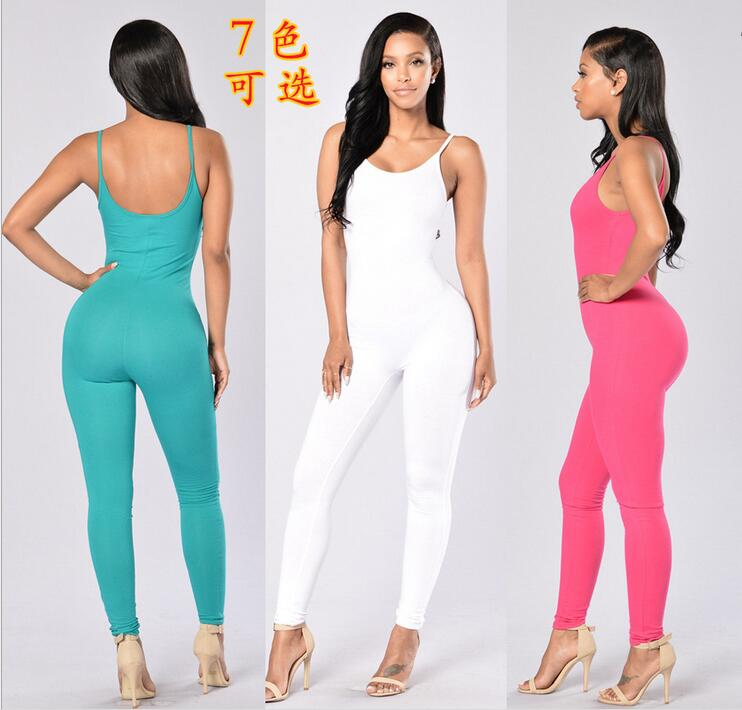 New Fashion Women Sexy Bodysuit Women Jumpsuit Long  Sportswear Jumpsuit Green White Women Jumpsuit 2019 Summer Bodysuit