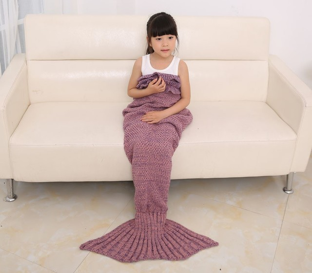 2017 New  handmade Mermaid Fish Tail knitting sofa throw TV Blankets Cocoon Costume blanket children 70*140cm For Children