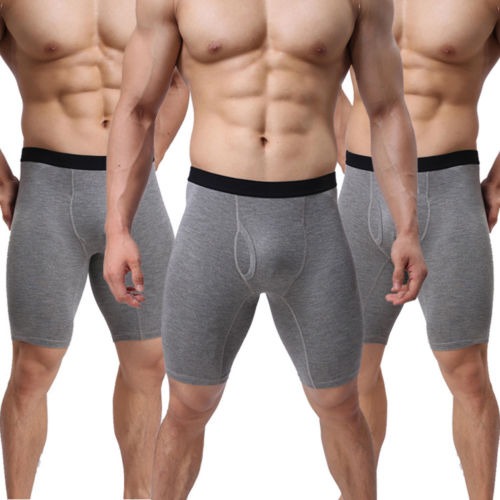 Shorts Boxers Underpants Stretch Cotton Mens Fashion Casual Pouch Mid-Waist High Long-Leg