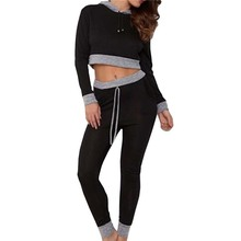 Women Sexy Trscksuit Fashion Hooded Long-Sleeved Patchwork Crop Tops Leggings Pants Workout Outfits Two-piece Set Female W1349