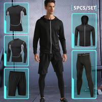 Men sport suit 2018 compression running set basketball running underwear clothes quick dry yoga gym fitness training sport suit