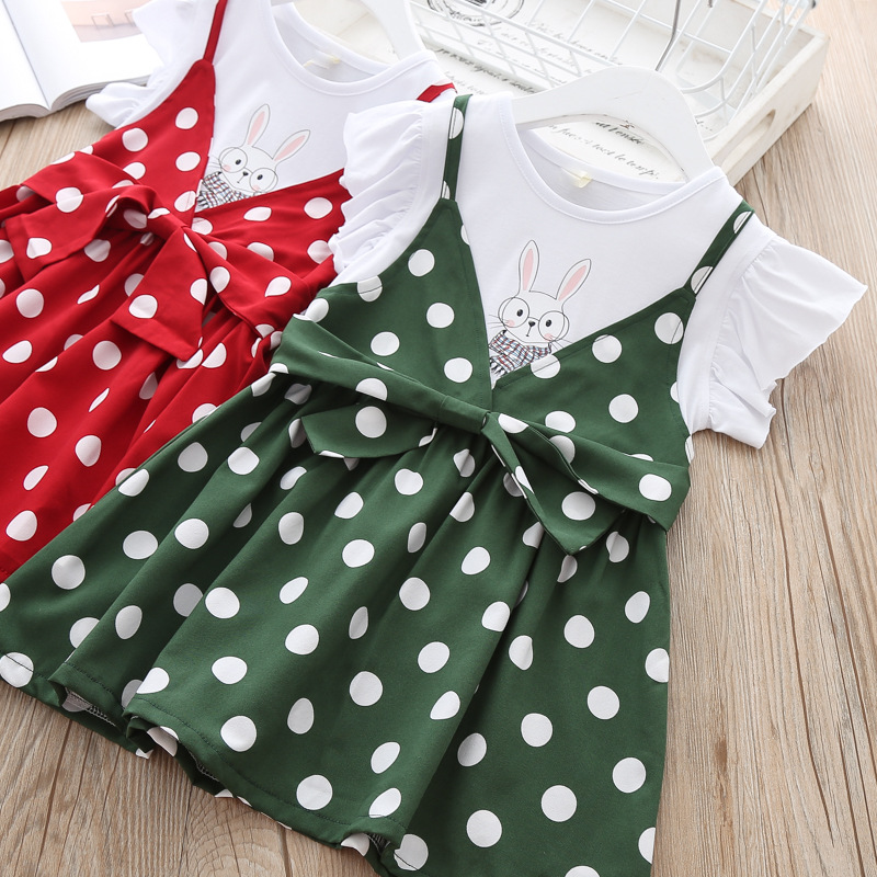 Baby Girl Summer Dress Bunny Print Kids Fashion Wholesale Lots Bulk Clothes Toddler Girl Cotton Polka Dot Party Dress Front Bow