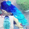 Long  Blue Wig High Quality Ombre Wig Ombre Blue Hair Heat Resistant Glueless Ombre Blue Synthetic Lace Front Wig Free Shipping