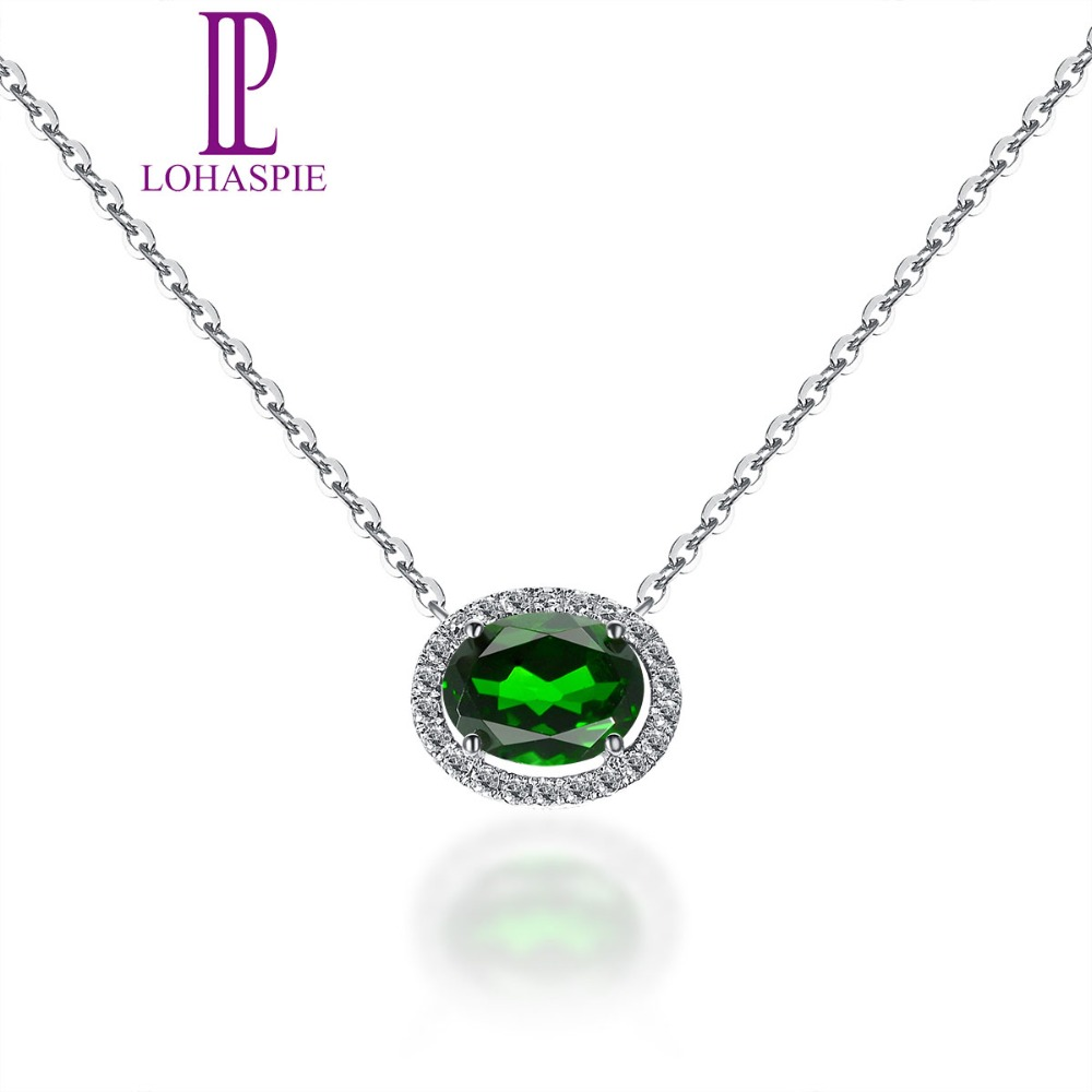 LP Solid 18K White Gold 1.40ct Natural Gemstone Chrome Diopside & Diamonds Necklace For Women Fine Diamond Jewelry 18 Inch