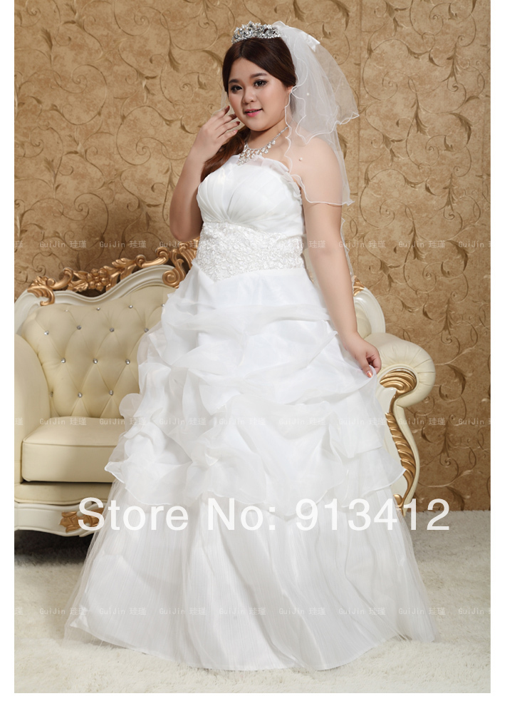 DHL Free Shipping Best Quality Plus Size Wedding Dress Strapless ...