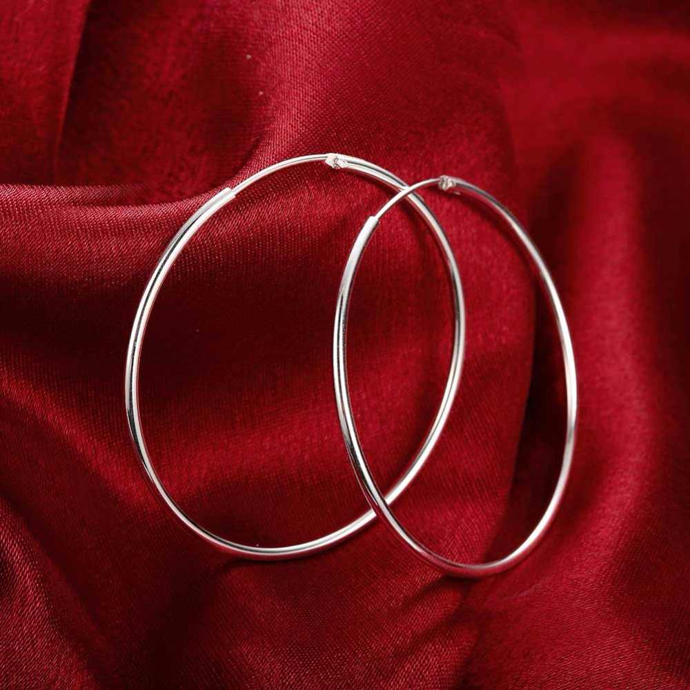 ce319bc67 ... Women Silver Hoop Earrings Large Big Round Circle 925 Silver Hoops  Creole Fashion Jewelry 50MM 60MM