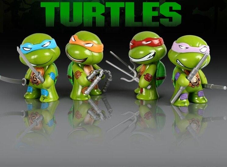 Q version 4 Pcs Set Ninja Turtles Classic Collection Mini Figures Toys Model /Mutant Turtles decoration teenage mutant ninja turtles action figure 6 pcs set decoration collection gift
