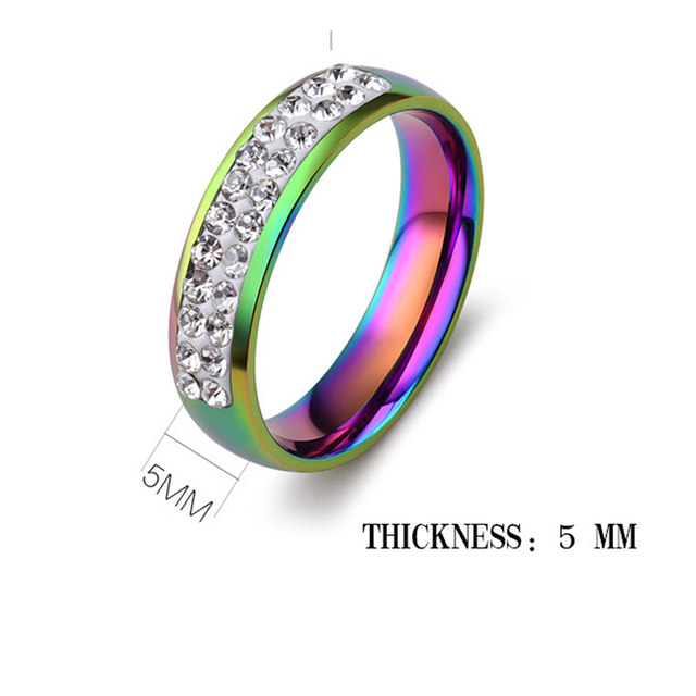 Pride Ring Stainless Steel An Jewelry Rainbow Shiny Rhinestones Glaring 5mm Rings For Wedding
