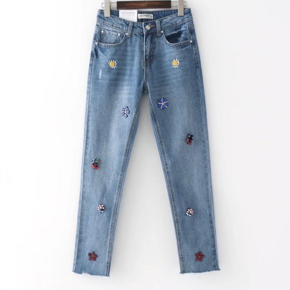2017 Fashion Women Jeans With Rhinestones Mid Waist Handmade Colored Diamond Harem Pants Vintage Ladies Burr Hem Denim Trousers