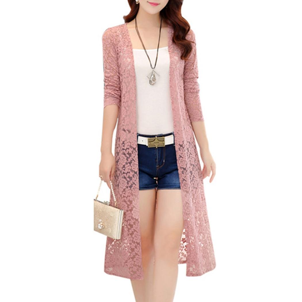 Women Summer Long Lace Kimono Cardigan 3XL Long Sleeve Elegant Ladies Beach   Blouse     Shirts   Transparent Femme Tops