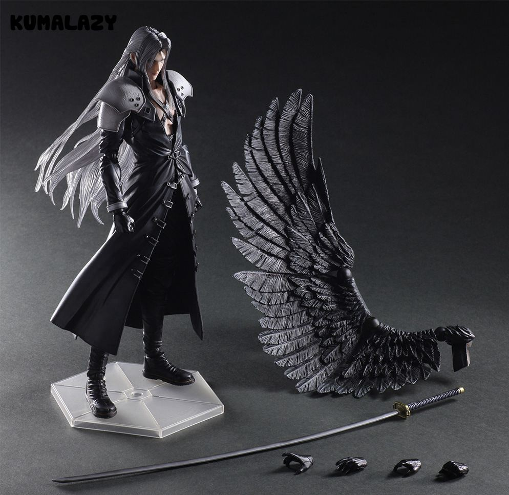 Play Arts Final Fantasy Figure Final Fantasy VII Sephiroth Figure PA Play Arts Kai Cloud Strife 27cm PVC Action Figure Doll Toys anime folding wallet final fantasy xiii cloud strife sephiroth iclair farron high quality short pu purse free shipping