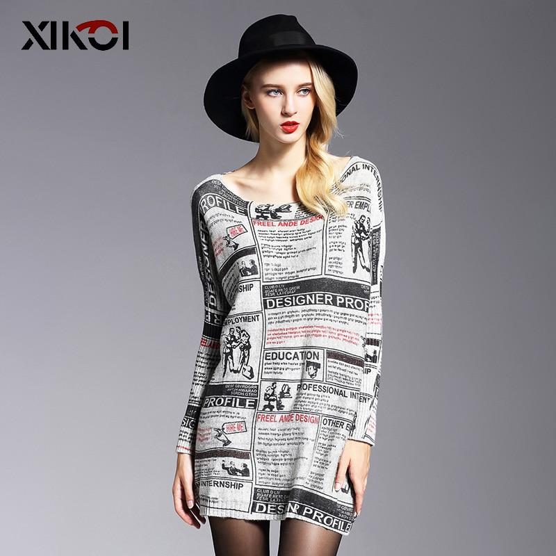 XIKOI Berkebun Wanita Sweater Fesyen Panjang Lengan Batwing Cetak Slash Leher Wanita Pullovers Komputer Jumped Wanita Jumper