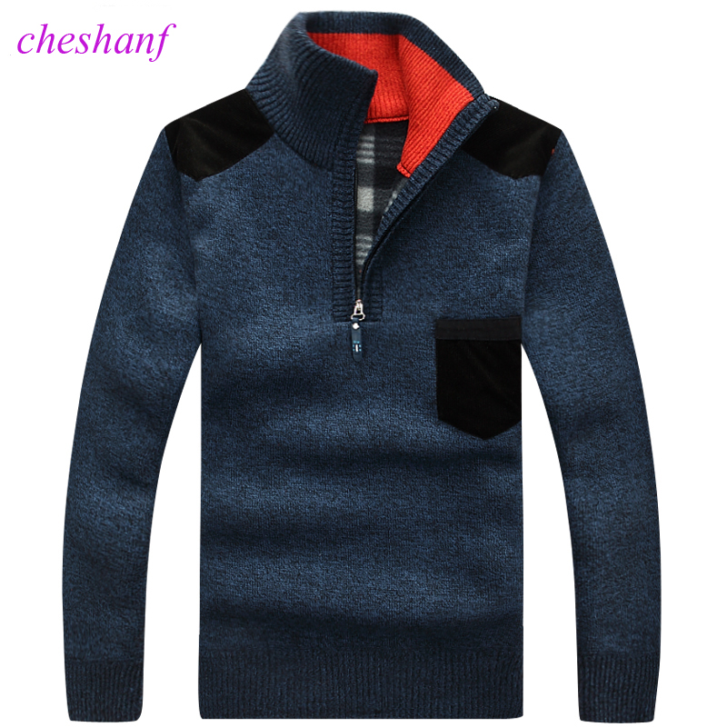 Men's Sweaters Pullover Zipper Clothing Knitwear Velvet Cashmere Fleece Thick Winter