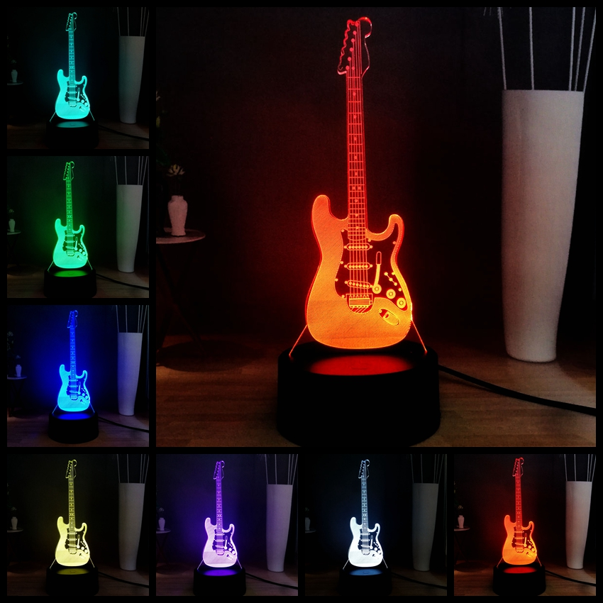 New 3D Illusion Electronic Lamp Music Equipment Bass Guitar Drum LED Night Light USB Remote Table Lamp Decoration Children Gift