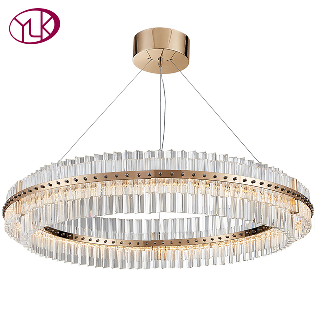 Youlaike Living Room LED Chandelier Luxury Modern Crystal Lamp Double Layer Hanging Cristal Lustre Dining Room Gold Lighting