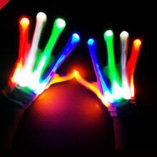 Клубные вечерние танцевальные Хеллоуин перчатки с мигающими светодиодами палец светить свечение Перчатки нарядное платье световое шоу Рождественский праздничный поставки