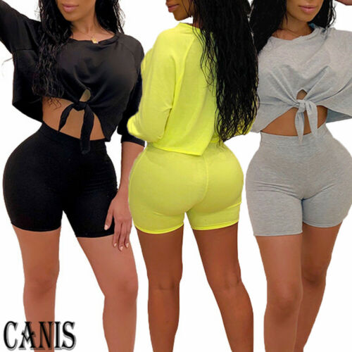 3 Colors Women 2PCS Solid Loose Sport Outfits Running Crop Tops Shorts Pants Yoga Casual Sets