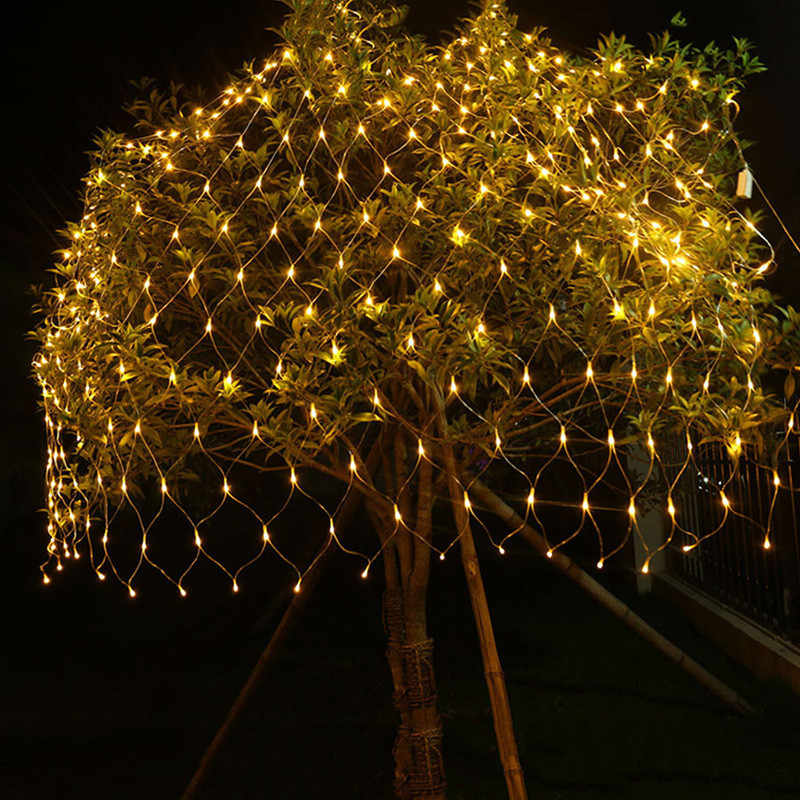 1.5x1.5/3X2 LED Christmas Garlands Fairy String Net Curtain String Lights Outdoor Waterproof Decorative Holiday Party Mesh Light