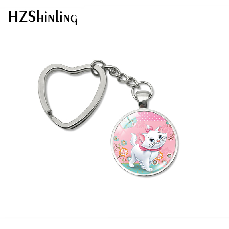 2019 Fashion Cute Marie Cats Design Heart Keychains Cartoon Kitten Style Glass Dome Key Chain Gifts Keyring Gifts For Women