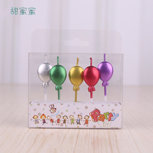 5 pcs /package  Happy Birthday Candles Creative Cute Cartoon Balloon Shape Star Party Cake Fashion Candle