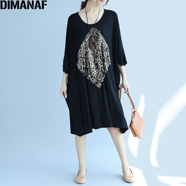 67f0f7aa143 DIMANAF Women Autumn Dress Plus Size Sequined Cotton Casual Black Dresses  Oversize Tops Tees Female Loose Dress Fit 5XL 100KG