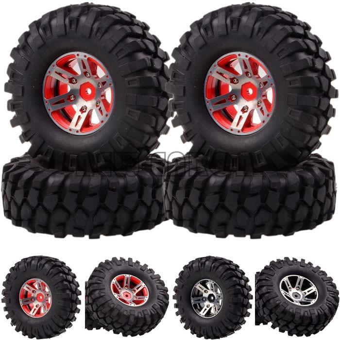 1059-7032 Wheel & Tyre For RC 1/10 D90 SCX10 K949 4x .9 Metal Rock Crawler Wheel/Rim & Tyre mxfans 4 x rc1 10 rock crawler black alloy 7 spoke wheel rim simulation rubber tyre