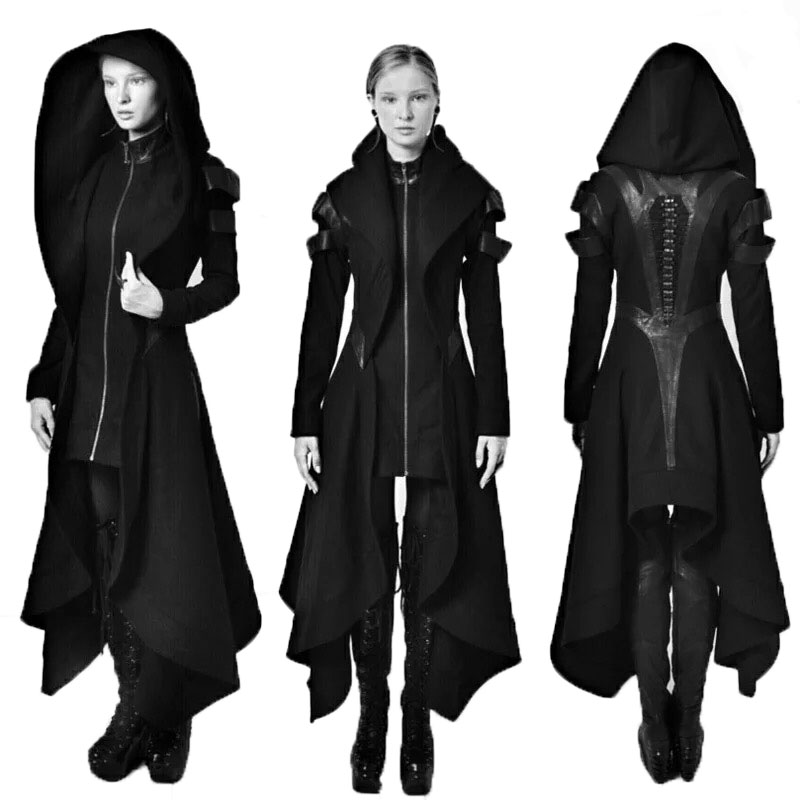 Adult Women Steampunk Assassin Elves Pirate Costume Winter Avant Black Long Hooded Jacket Gothic Armor Leather Coat For Ladies