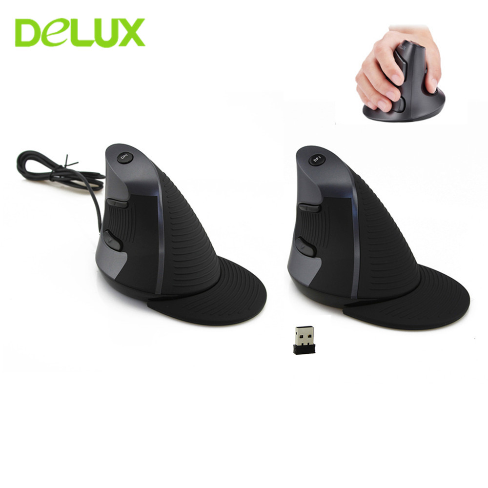Delux M618 Ergonomic Vertical Mouse 6D Optical Right Hand Mice Wireless Mause With Wrist Mat For PC Laptop Computer Gaming