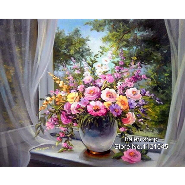 Hot! vensterbank bloemen patroon diamant borduurwerk diy handwerken diamond schilderij kruissteek 5d steentjes schilderen df022
