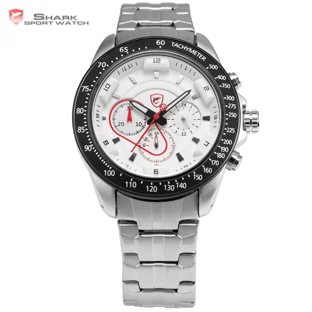 Snapper Shark Sport Watch Men Stainless Steel Strap White Chronograph Dial Clock Analog Military Quartz Outdoor watch / SH279 red snapper