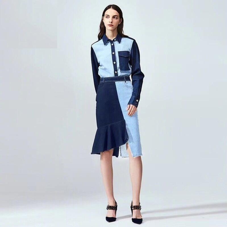Femmes Robes Style En Bleu Mode Robe down Denim Celebrity Sexy Gros 2019 Turn Corps Plein Con Nouveau Y3050 Col Bouton Patchwork c1KJTul3F