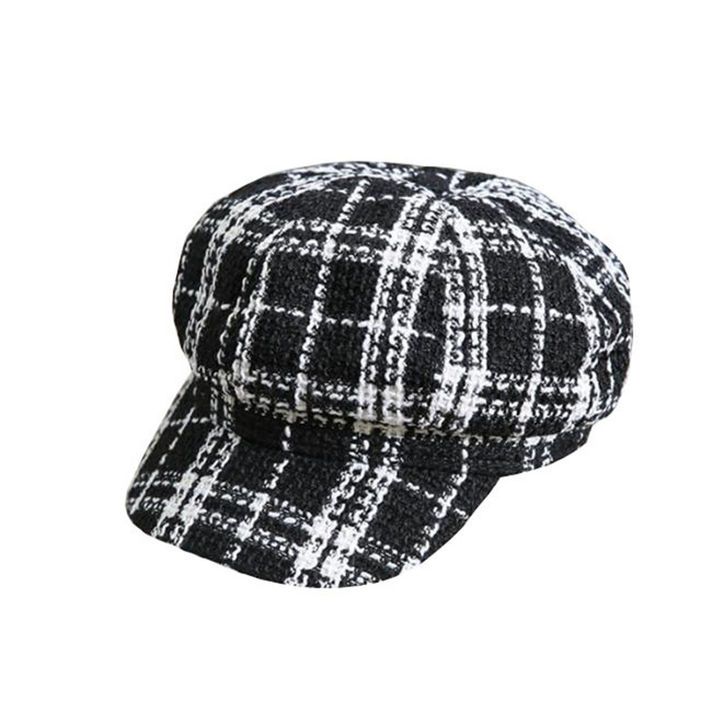 695c686e2 US $8.35  Black White Tweed Plaid Hat Women Winter Newsboy Cap Felt Hats  for Women Vintage Warm Thick Octagonal Cap 2styles-in Newsboy Caps from ...