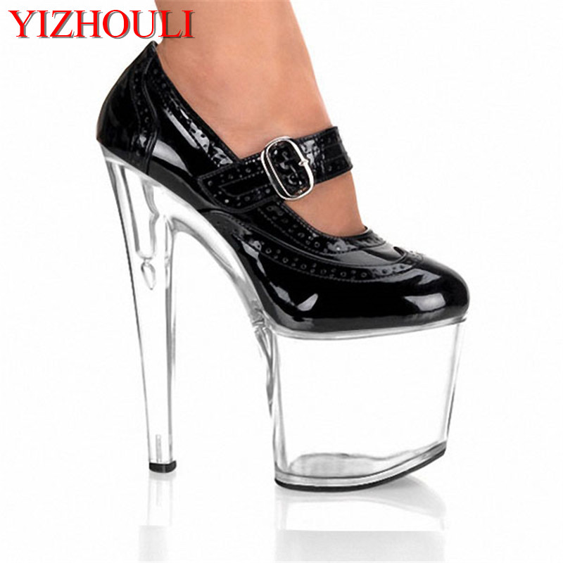The 20CM sexy ultra high heel with thin transparent sole PU material single shoe 8 inch