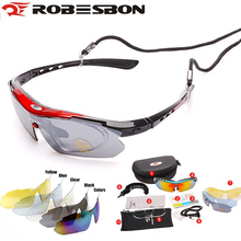 ROBESBON buy one get 5pcs lenses Cycling Sunglasses Sports  Riding Night Vision Glasses Bicycle Bike MTB Road UV400 myopia strap
